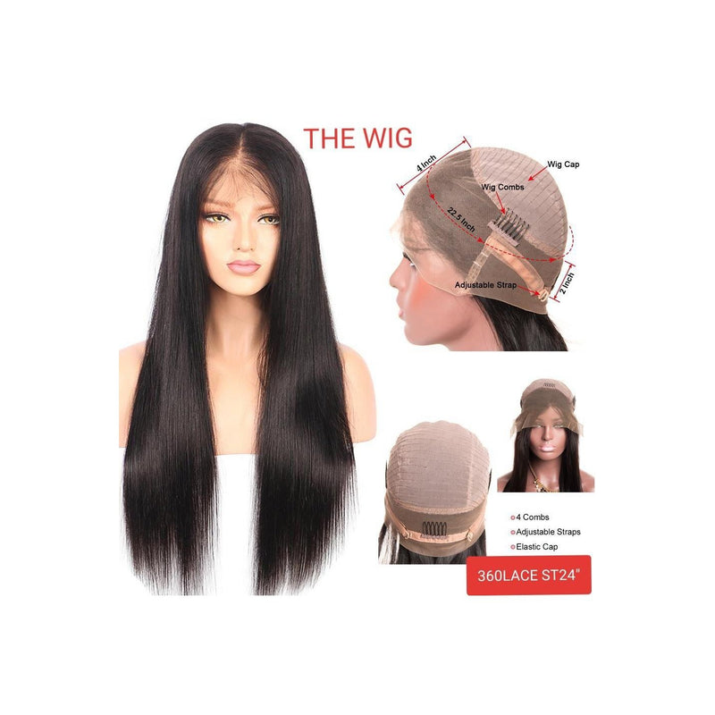 "THE WIG 100% BRAZILIAN VIRGIN HUMAN HAIR 360 LACE WIG STRAIGHT 24"" - STARCURLS.COM"