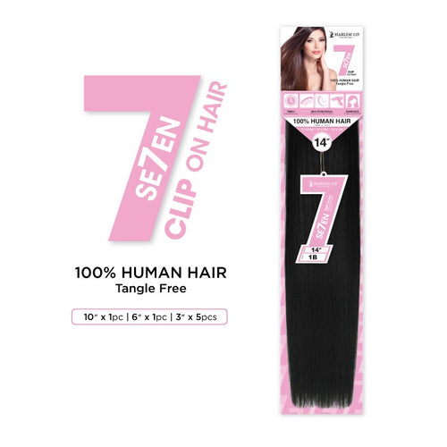 7PC CLIP-ON HUMAN HAIR EXTENSION STRAIGHT 16"