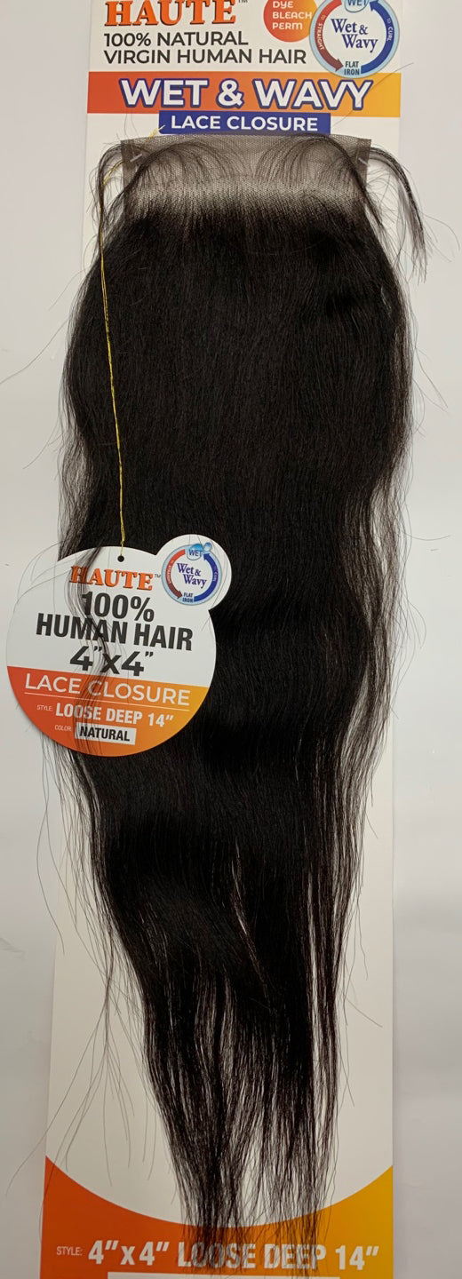HAUTE 100% VIRGIN HUMAN HAIR ,WET & WAVY LOOSE DEEP 4X4 CLOSURE - STARCURLS.COM