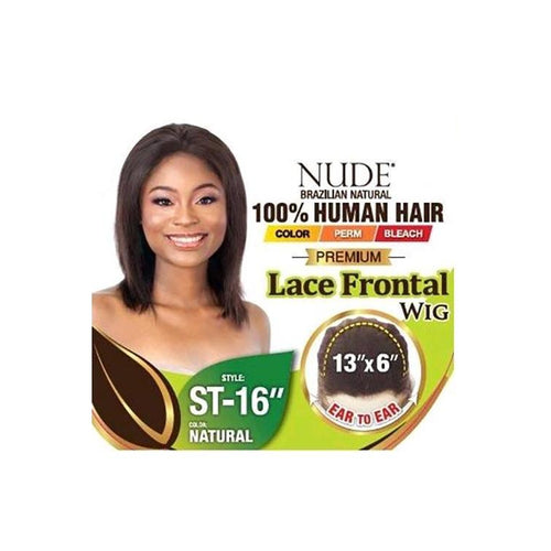 "100% HUMAN HAIR, NUDE PREMIUM 13X6 LACE FRONT WIG STRAIGHT 16 INCH"" - LAR52 - STARCURLS.COM"