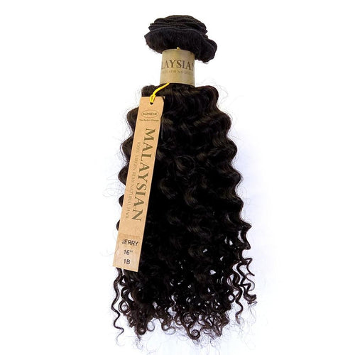"16"" 100% Malaysian REMY HUMAN HAIR JERRY CURL WEAVE, 1B - STARCURLS.COM"