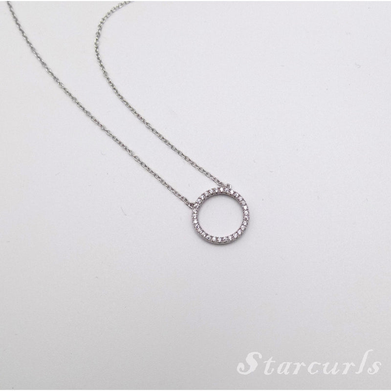 925 Sterling Silver Pave Circle Necklace (N- 1801) - STARCURLS.COM