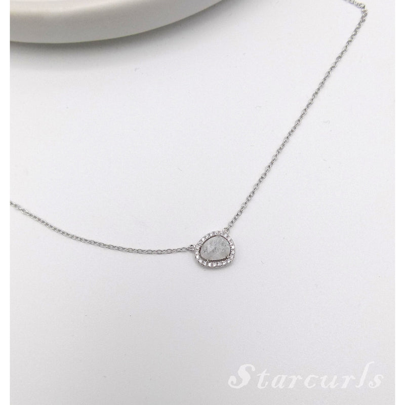Sterling Silver Pave White Opal Necklace (N- 1804) - STARCURLS.COM