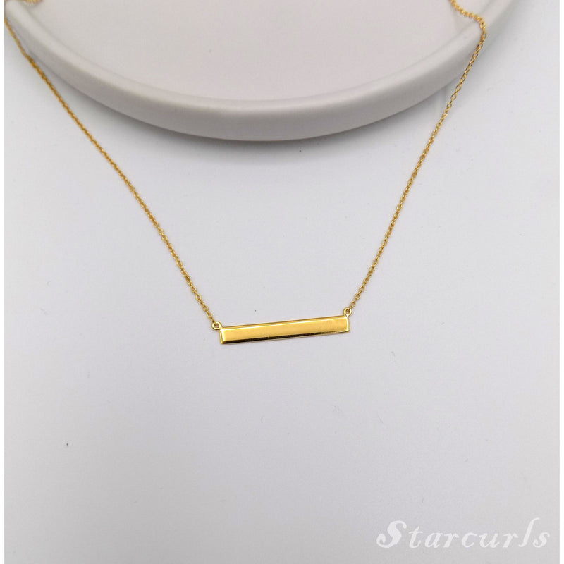 925 Sterling Silver Bar Necklace (N-1806) - STARCURLS.COM