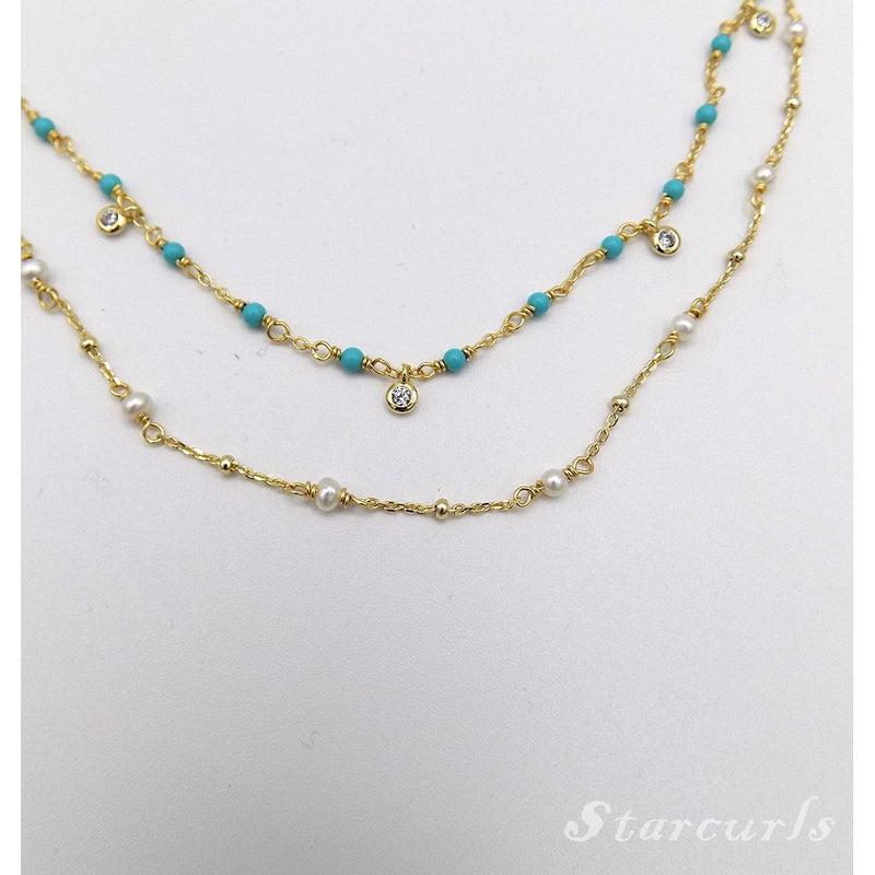 925 Sterling Silver Turquoise Bead with Crystals Necklace (N-1808) - STARCURLS.COM