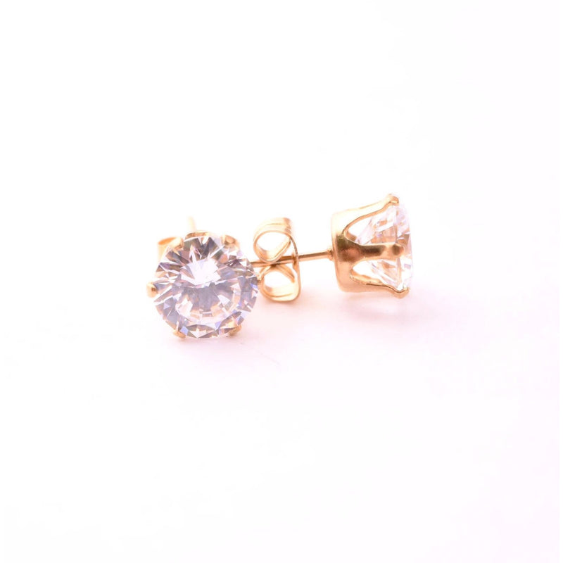 6mm Cubic Zirconia Stainless Steel Earring - STARCURLS.COM