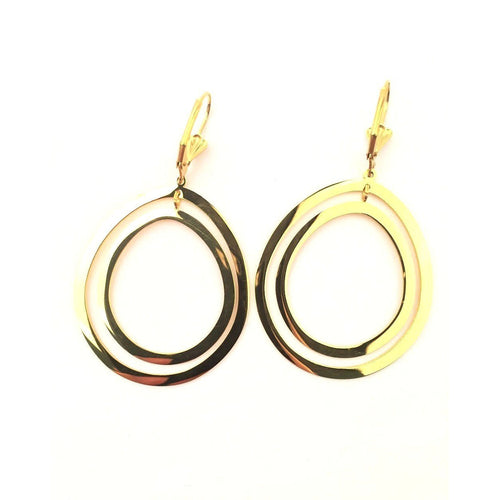 Stainless Steel - Double Circle Dangle Earring - STARCURLS.COM