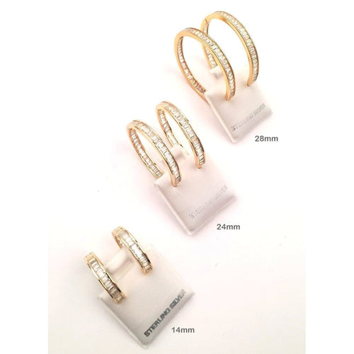 925 Sterling Silver - Hoop Earring with Cubic Zirconia - STARCURLS.COM