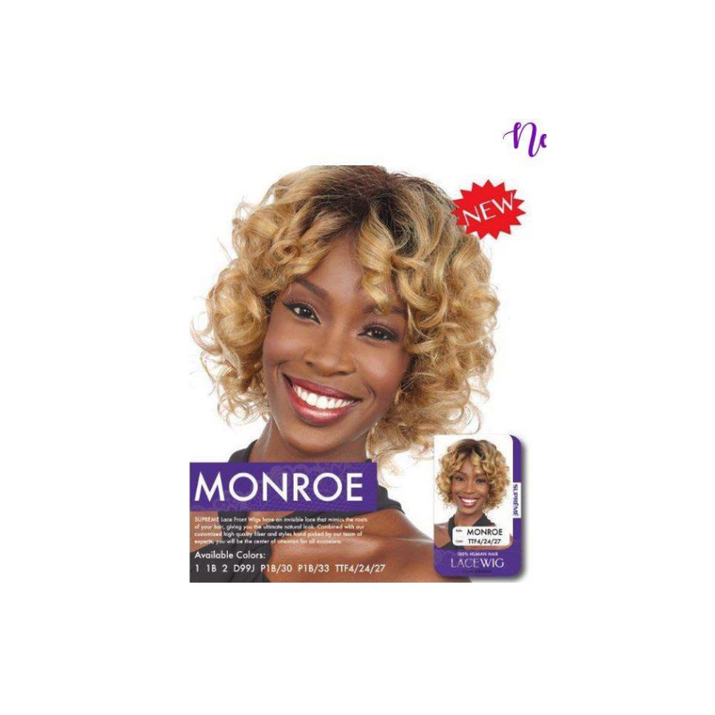 100% HUMAN HAIR LACE WIG , SHORT CURLY (MONROE) - STARCURLS.COM