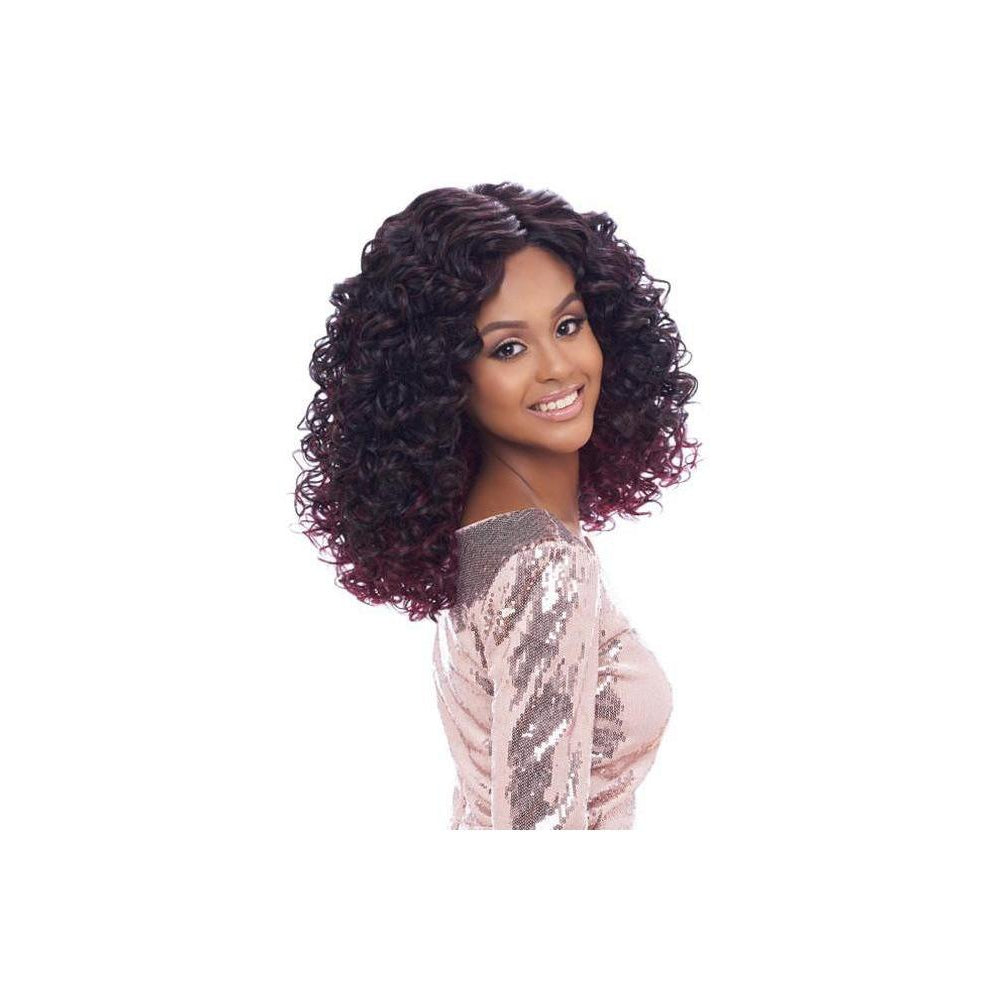"LACE FRONT WIG, SWISS LACE WITH REVERSE DEEP PART , WATER CURLS 16-18""  (LSD06) - STARCURLS.COM"
