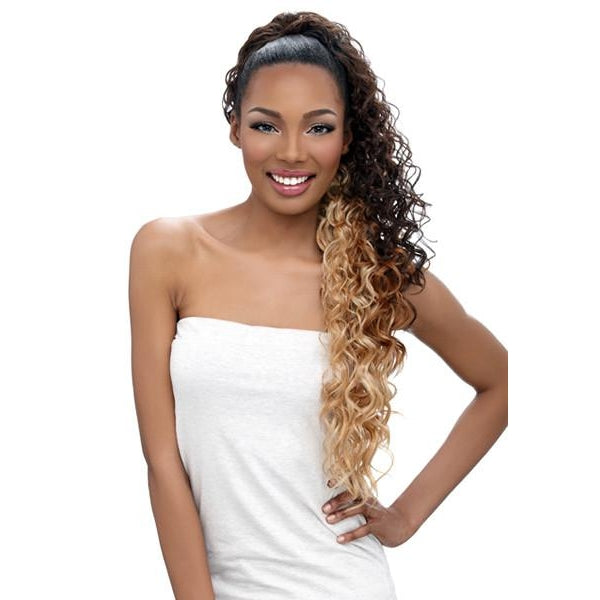 "ORIGINAL PONYTAIL DRAW STRING - LONG CURLY 30"" - SAMBA129 - STARCURLS.COM"