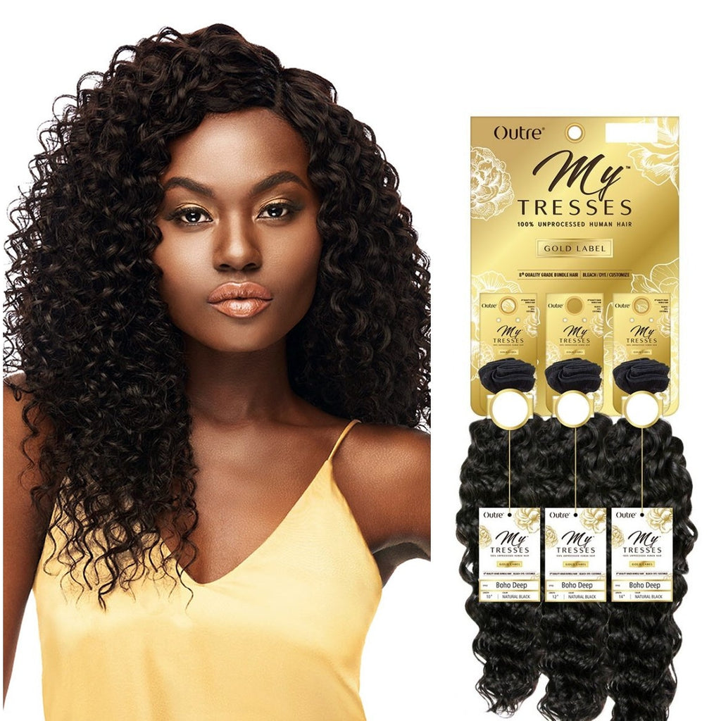 100% HUMAN HAIR MYTRESSES GOLD LABEL - BOHO DEEP  - 1 PCK (3 BUNDLES) - STARCURLS.COM