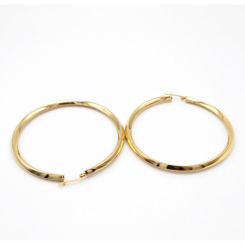 1 Pair, Gold Plated Thick Round Hoop Earrings 50mm or 70mm - STARCURLS.COM