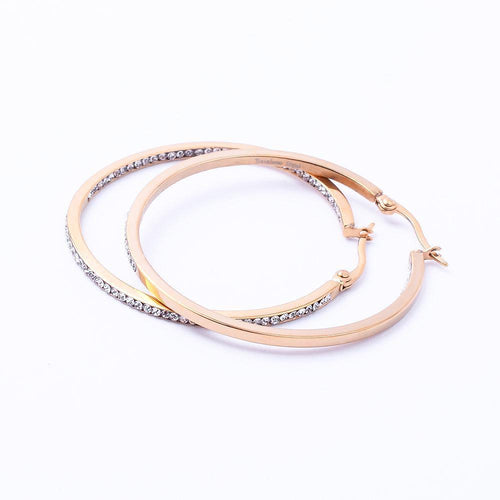 Gorgeous Stainless Steel & All Around Cubic Zirconia Hoop Earring - STARCURLS.COM