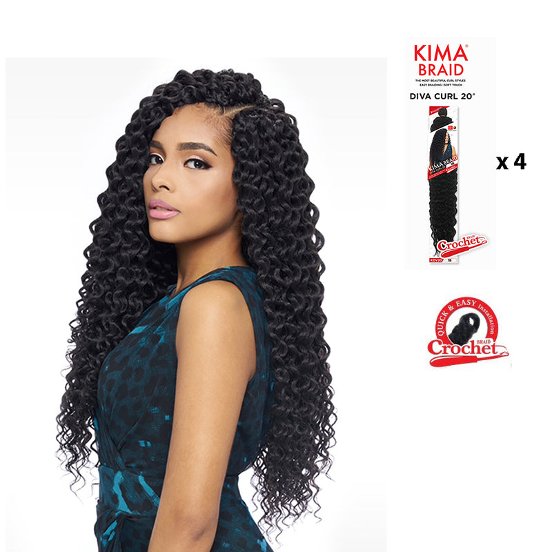 "KIMA BRAID DIVA CURL 20""- CROCHET BRAID  ***4 PACK DEAL***  (KDV20) - STARCURLS.COM"