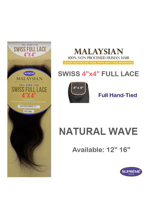 "100% HUMAN HAIR- SWISS FULL LACE 4"" x 4"" CLOSURE - NATURAL WAVE- 12"" - STARCURLS.COM"
