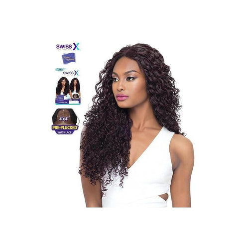 "SWISS X LACE FRONT FULL WIG, 4X4 PRE-PLUCKED - PENNY 26""  NATURAL CURLY - STARCURLS.COM"