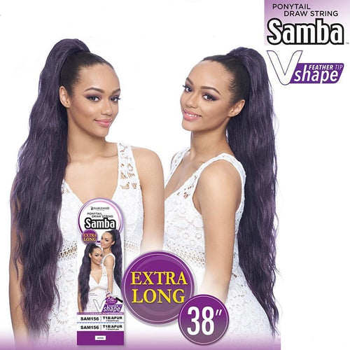 "ORIGINAL PONYTAIL DRAW STRING , V SHAPE- FEATHER TIP 38""  (SAMBA156) - STARCURLS.COM"