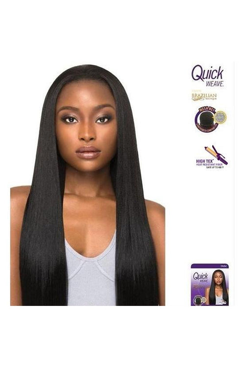 QUICK WEAVE HALF WIG - LONG STRAIGHT - BRAZILIAN BOUTIQUE - SLEEK PRESSED - STARCURLS.COM