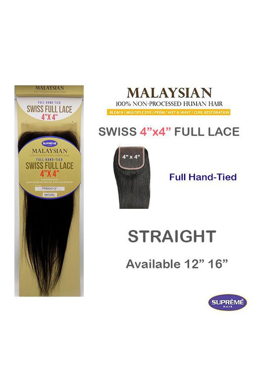 "100% HUMAN HAIR- MALAYSIAN SWISS FULL LACE 4"" x 4"" CLOSURE - STRAIGHT 12"" - STARCURLS.COM"