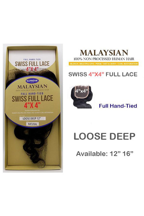 "100% HUMAN HAIR-SWISS FULL LACE 4"" x 4"" CLOSURE - LOOSE DEEP - STARCURLS.COM"