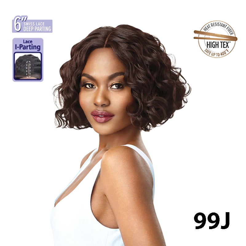 "OUTRE LACE FRONT 6"" SWISS LACE DEEP PARTING - WAVY BOB - VEDA - STARCURLS.COM"