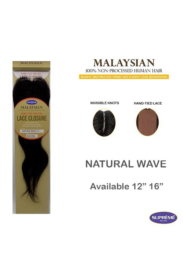 "100% HUMAN HAIR- LACE CLOSURE - NATURAL WAVE  12"" - STARCURLS.COM"
