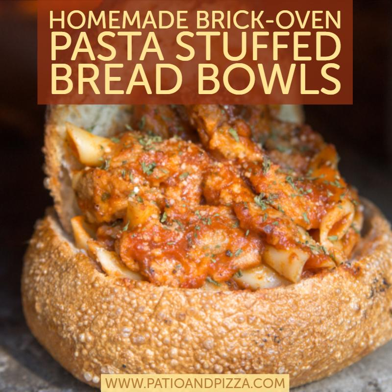 Pasta-Stuffed Bread Bowls in Your Pizza Oven