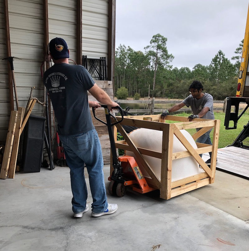 Brick Oven Moved with Pallet Jack