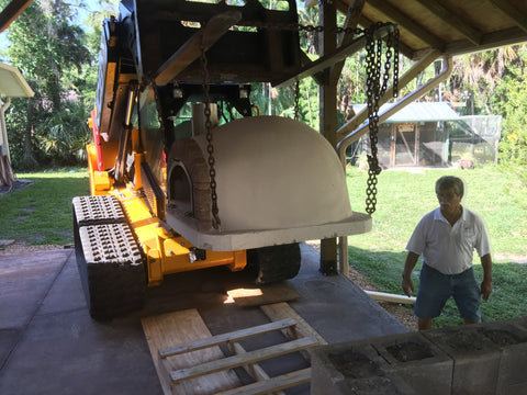 Moving a Brick pizza oven to a base