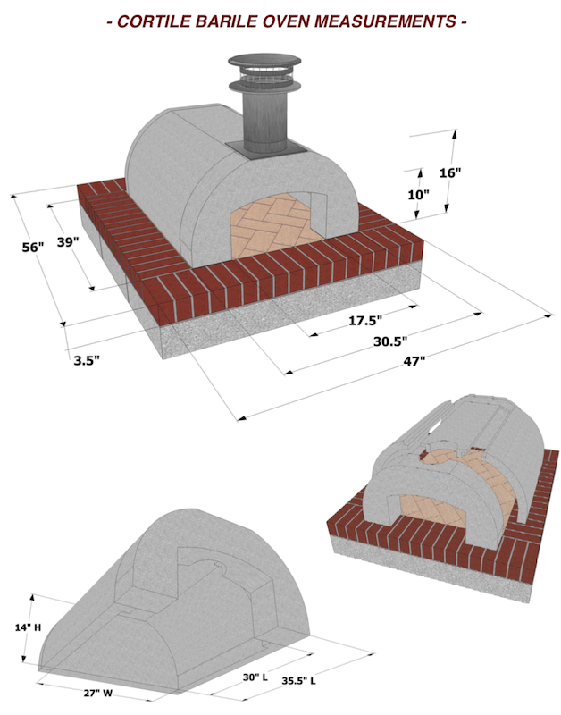 Cortile Barile Pizza Oven Spec Measurements