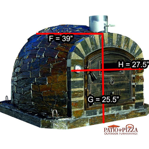 Dimensions for the brick oven Lisboa with a stone finish