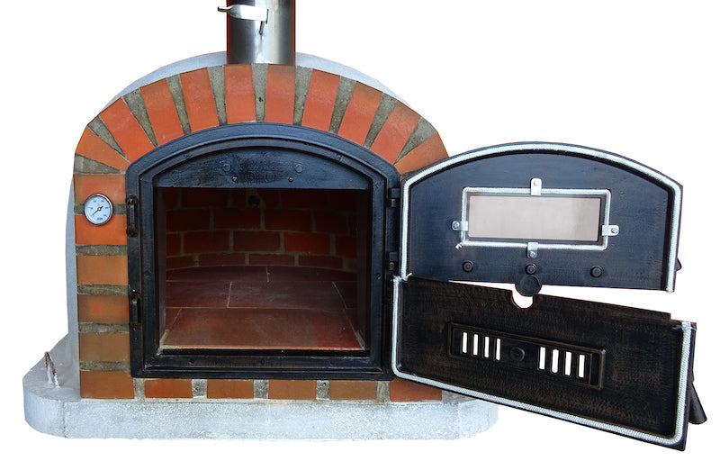 Brick oven with rustic arch made of red brick