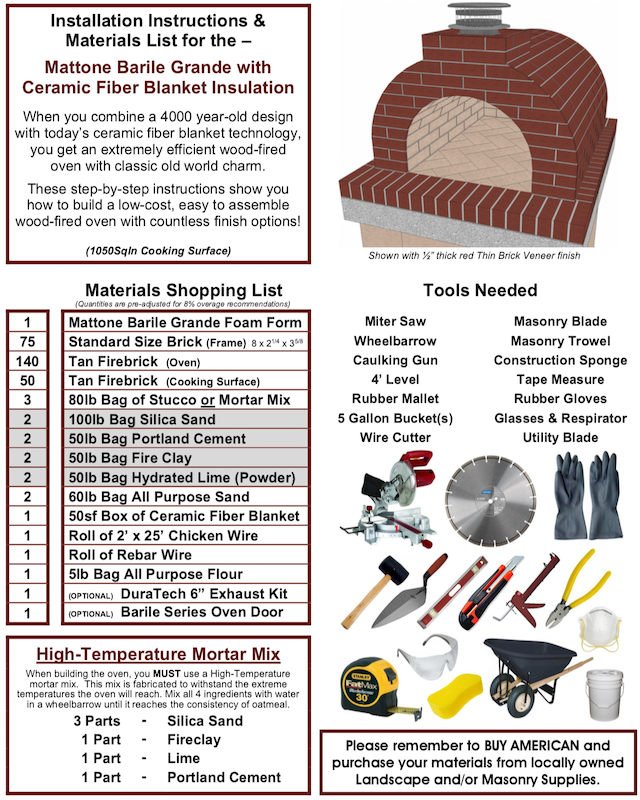 Materials needed for the DIY Mattone Barile oven