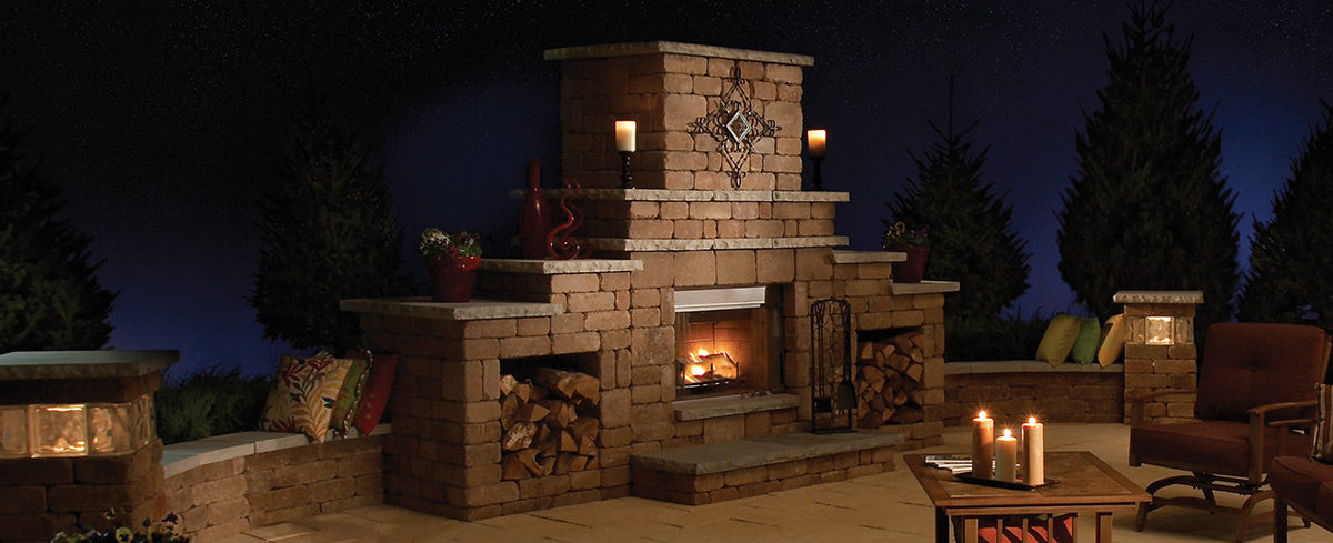 Outdoor fireplace DIY kit with outdoor kitchen