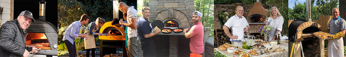 People cooking in pizza ovens