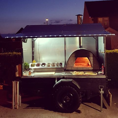 Pizza oven in food trailer