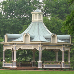 Victorian gazebo image with green roof