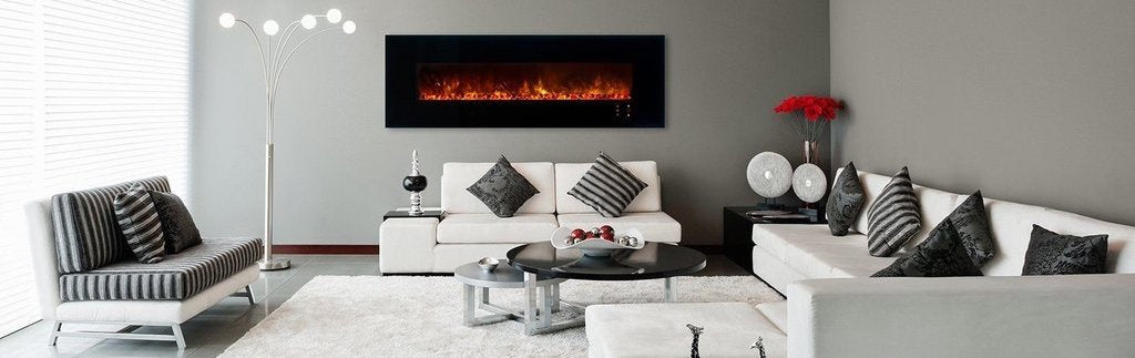 Electric Fireplace handing on the wall of a beautiful white living room