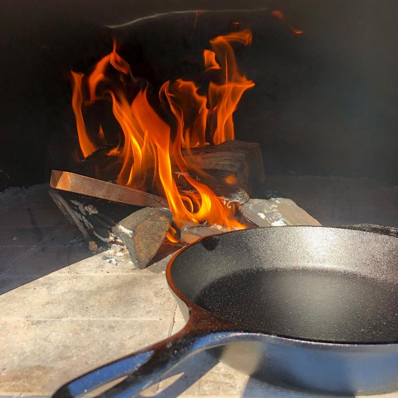 Cast Iron Skillet in Wood Fired Oven