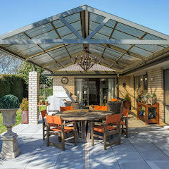 Gable pergola also called a pitch pergola built on patio