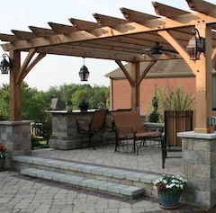 Open top pergola built with wood