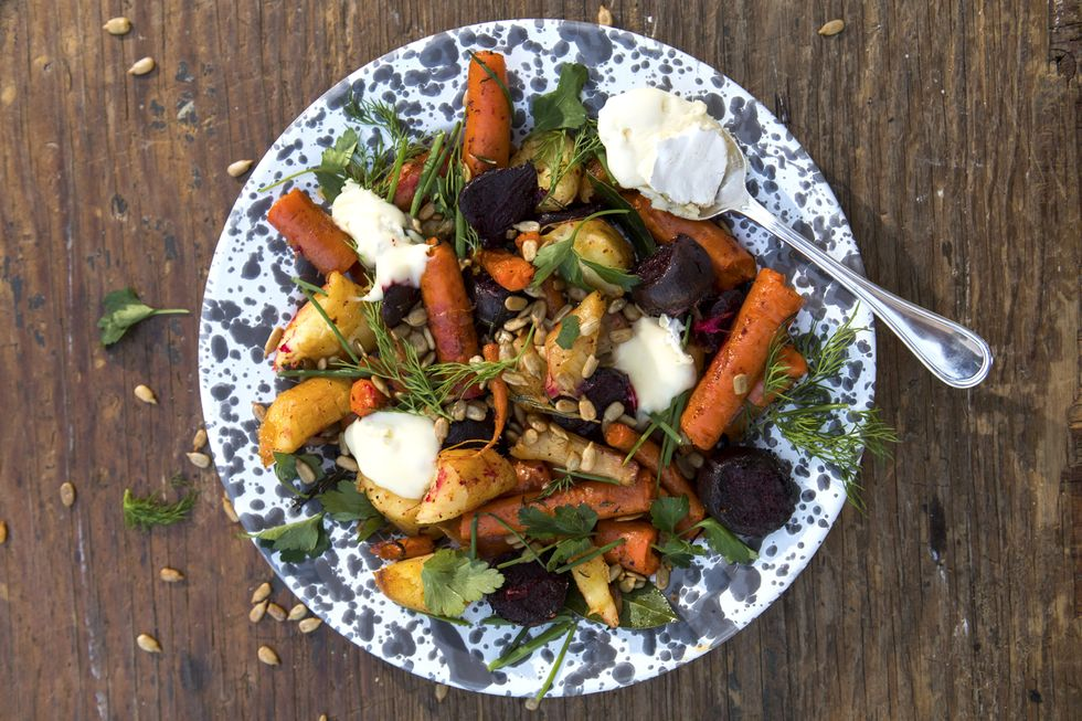 Roasted vegetables on a beautiful plate
