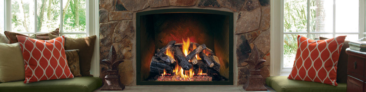 Vent-free and vented gas logs in an indoor fireplace