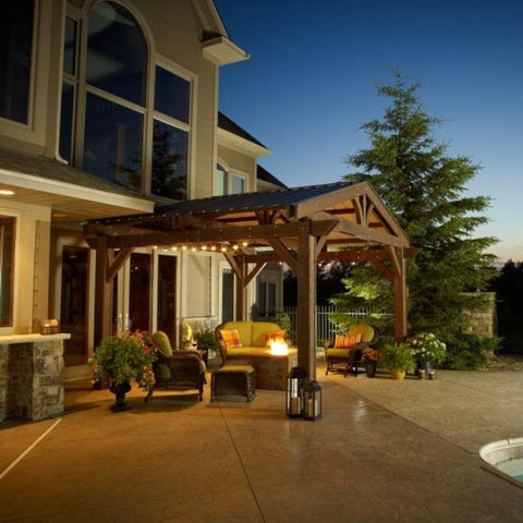 Image of 14 x 14' Mocha Lodge II Wood Pergola Kit
