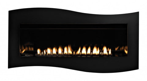Empire Boulevard Linear Contemporary Vent-Free Fireplaces Tidewater Front in Matte Black, shown with Black Porcelain Liner