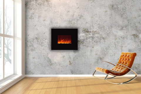 Image of Ignis Wall Mount Royal Black Electric Fireplace 36-inch