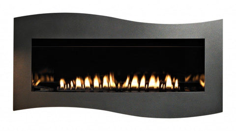 Image of Empire Boulevard Linear Contemporary Vent-Free Fireplaces Tidewater Front in Hammered Pewter, shown with Black Porcelain Liner