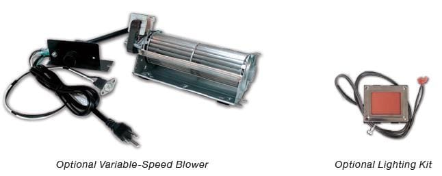 "Empire Tahoe Clean Face Premium See-Through Direct-Vent Fireplaces 36"" Lighting Kit, and Blower"