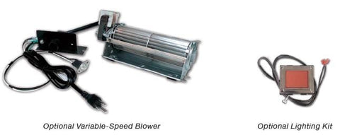 "Image of Empire Tahoe Clean Face Premium Peninsula Direct-Vent Fireplaces 36"" Lighting Kit, and Blower"